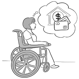 Woman in wheelchair thinking about money, credit cards and a house