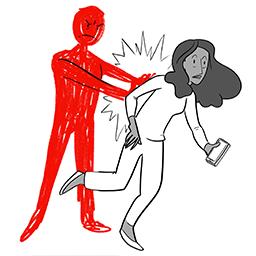 Person pushing woman